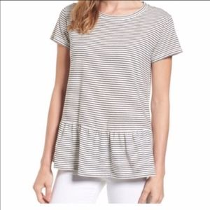 Caslon Peplum Striped Tee M